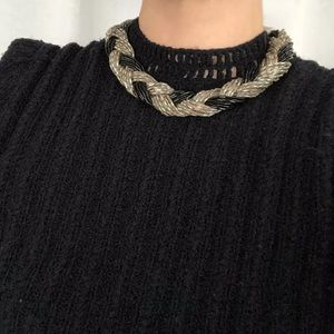 vintage 60s black beaded braid choker necklace